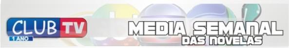 Média semanal das novelas entre os dias 03 e 08 de junho de 2013