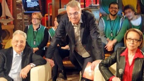 Fernando Henrique Cardoso participa do Na Moral ao lado de Pedro Bial e Fernanda Montenegro   (Foto: Na Moral/TV Globo)