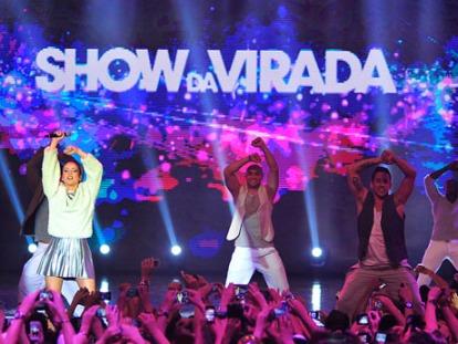 """Claudia Leitte nas gravações do """"Show da Virada"""" da Globo"""